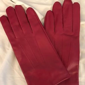 Maroon leather lined gloves